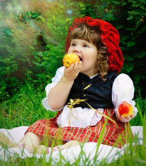 Фото Маленькая красная шапочка с яблоками