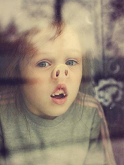 Фото Девочка упирается носом в стекло