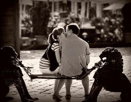 Фото Влюбленная пара целуется на скамейке