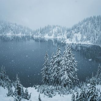 Фото Снегопад над озером и елями