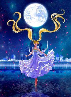 Фото Princess Serenity / Принцесса Серенити из аниме Сейлор Мун / Sailor Moon на фоне Кристального Токио в лунную звездную ночь