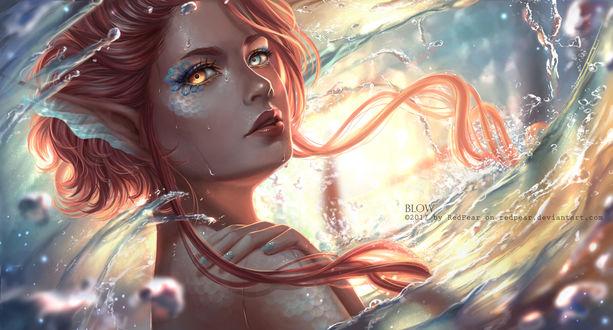 Фото Рыжеволосая русалка в брызгах воды, by RedPear