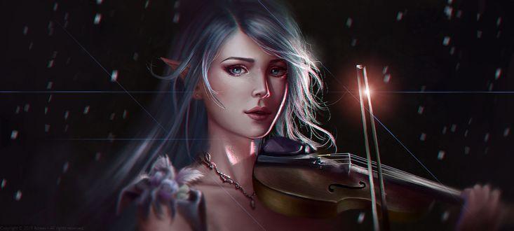 Фото Эльфийка с серебряными волосами играет на скрипке под падающим снегом, by Aoleev