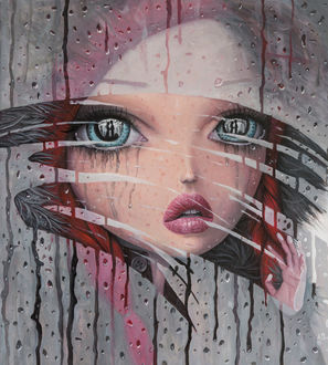 Фото Девочка со слезами на глазах смотрит в окно на парня с девушкой, by borda