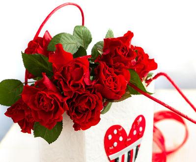 Фото Бордовые розы в пакете с изображением сердечка