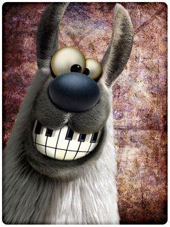Фото Огромный заяц с выпученными глазами улыбается, показывая зубы клавиши, иллюстратор Хуан Карлос Федерико / Juan Carlos Federico/