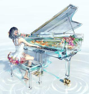 Фото Девушка за фантастическим роялем с рыбками и цветами