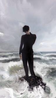 Фото Грустный парень в черной одежде стоит среди волн, by ALLE PAGE