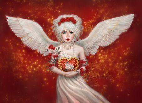 Фото Белокурая девушка-ангел держит в руках Валентинку, by Enamorte