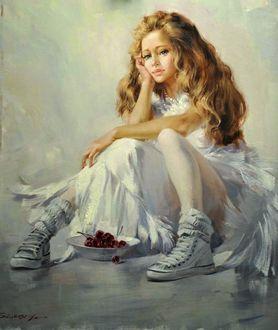 Фото Сидящая на полу девушка, рядом тарелка с вишней, by Иван Славинский (Ivan Slavinsky)