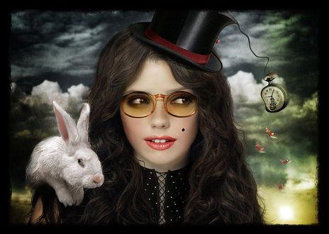 Фото Девушка в образе Алисы с белым кроликом, фотограф Katya Rashkevich