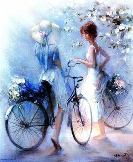Фото Две девушки на велосипедной прогулке, на одной из них шляпка с ленточками, а сзади в багажниках букеты собранных цветов / BY WILLEM HAENRAETS