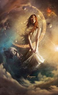 Фото Девушка на небе в окружении планет, by zacky7avenged