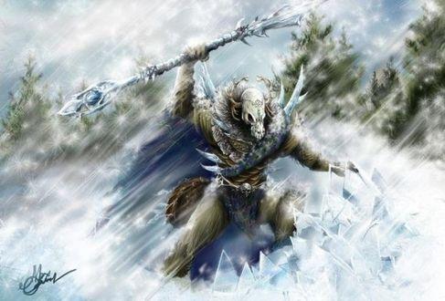 Фото «Боевой маг» из игры ККИ «Берсерк», грозный монстр с черепом животного на лице и копьем-жезлом в руках, иллюстратор Макс Олин