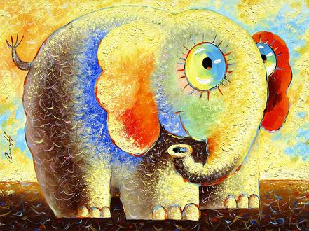 Фото Разноцветный слон, художник Липовцев Сергей