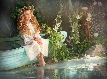 Фото Девочка с венком из цветов на голове сидит в лодке, опустив ножки в воду на фоне вьющихся растений, by Наташа Родионова