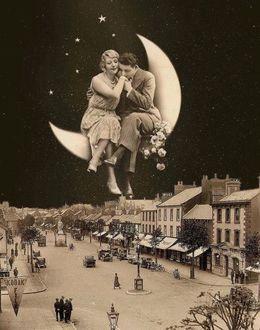 Фото К черту реальность! Влюбленные сидят на месяце, возвышаясь над городом с его суетой, домами, машинами, людьми