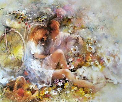 Фото Парень с девушкой на прогулке, собрали букет цветов, и присели отдохнуть на траву, в ногах спит белый щенок и рядом корзина с фруктами, by WILLEM HAENRAETS