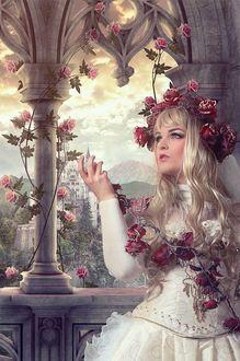 Фото Девушка с венком из роз на фоне горного пейзажа и старого замка