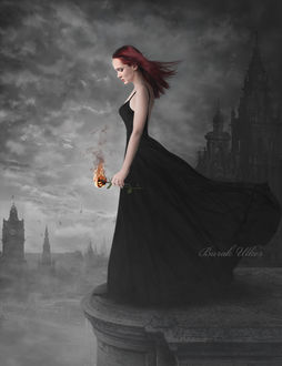 Фото Девушка с горящей розой в руке, by BurakUlker