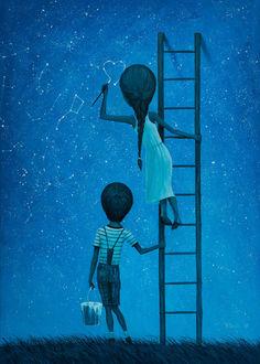Фото Девочка на звездном небе рисует сердечко, стоя на лестнице, которую придерживает мальчик, by borda