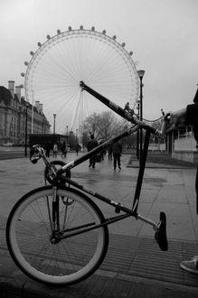 Фото На городской улице велосипедное колесо, стало аттракционом чертово колесо / by Vincenzo Balocchi |