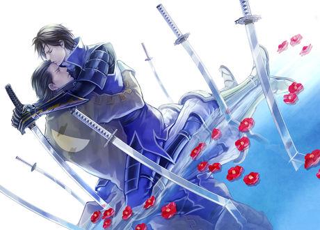 Фото Masamune Date и Katakura Kojuurou сидят, обнявшись в воде, среди красных камелий и катан, из аниме Sengoku Basara / Эпоха Смут