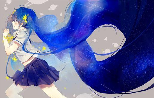 Фото Vocaloid Hatsune Miku / Вокалоид Хатсунэ Мику с космическими волосами, by -匙-