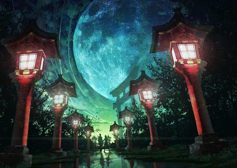 Фото Девушка и парень стоят на зеркальной поверхности дороги, освещаемой фонарями и ведущей в храм, на фоне ночного неба и огромной луны, by 真衣@冬コミ3日目東f-27a
