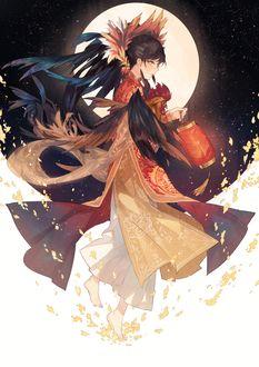 Фото Happy Lunar New Year / Счастливого Лунного Нового года, девушка с петухом на фоне полной луны, by Kanekiru