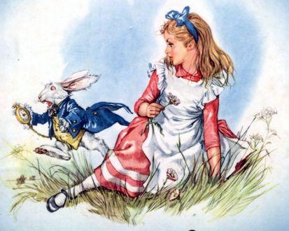 Фото Девочка сидит на лужайке с цветами и смотрит, как мимо пробегает кролик с часами, Алиса и всегда опаздывающий белый кролик, Алиса в стране чудес / Alice in Wonderland / BY LIBICO MARAJA /