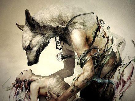 Фото Волк оборотень держит потерявшую сознание девушку, by Andrea Pérez