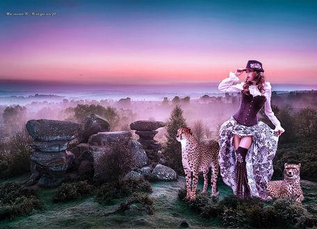 Фото Девушка и два гепарда стоя на горе, смотрят га горизонт