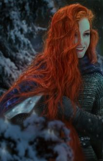Фото Девушка с ярко-рыжими волосами под падающим снегом, by GreatStefan671