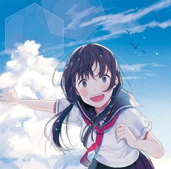 Фото Счастливая школьница на фоне облачного неба, by 沙藤しのぶ