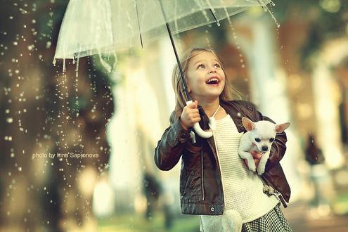 Фото Девочка со щенком и зонтом в руках, фотограф Сапронова Ирина