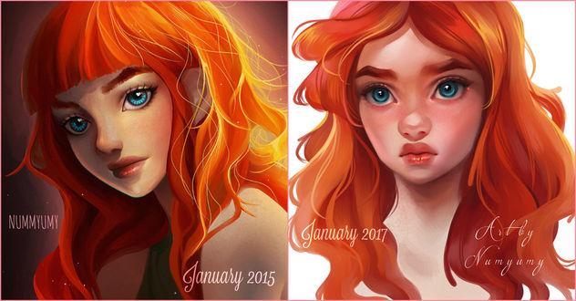Фото Девушки с яркими рыжими волосами, 2015 против 2017, by NUMYUMY