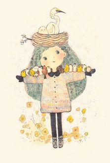 Фото Девочка с волосами листьями, на голове которой гнездо, расставила руки, на которых сидят птицы, в стороны, by moge