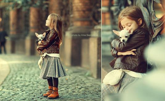 Фото Девочка со щенком в руках, фотограф Сапронова Ирина