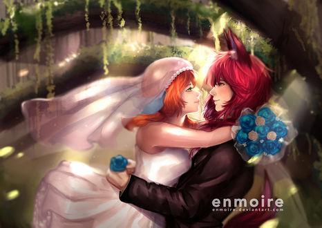 Фото Рыжеволосый парень с ушками приобнял рыжеволосую девушку в свадебном платье, by enmoire