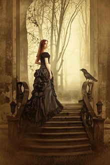 Фото Девушка готесса, обернувшись назад, стоит на ступенях замка, на перилах сидит ворон, by Peter Brownz Braunschmid