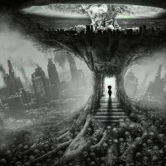 Фото Маленький малыш, затерявшийся, входящий в новый мир. Ребенок который увидел ядерную войну и одиночество на фоне скелетов людей, by Peter Brownz Braunschmid