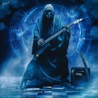 Фото Гитарист в образе смерти с гитарой на фоне зодиаков, by Peter Brownz Braunschmid