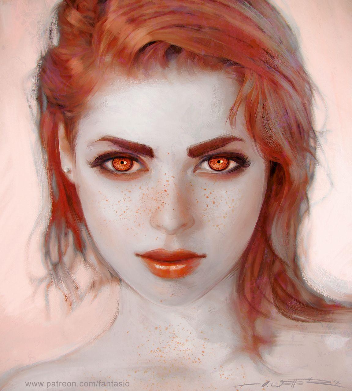 Фото Девушка с веснушками и красными глазами на лице, by Oliver Wetter