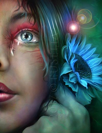Фото Девушка со слезой у голубого глаза и голубым цветком, by Euselia