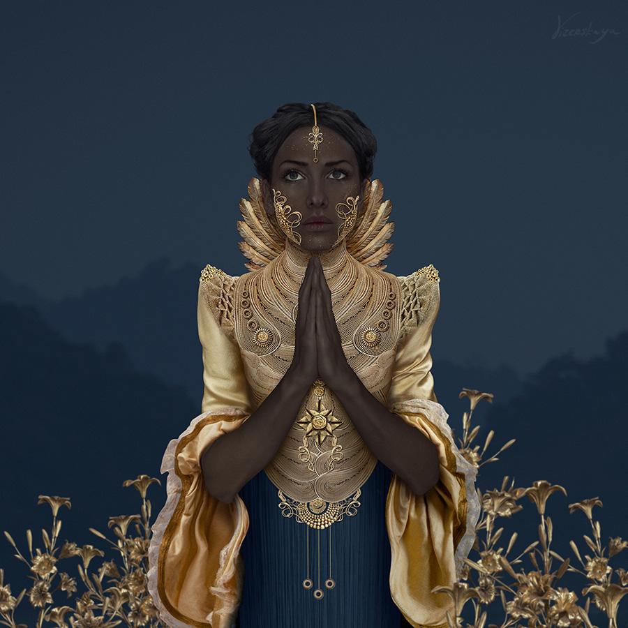 Фото Девушка с золотыми украшениями молится на фоне горного пейзажа и золотых цветов, by Elena KaSSandrA Vizerskaya