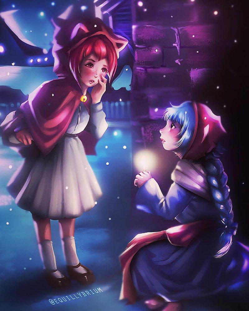 Фото Две девочки на фоне падающего снега, by equillybrium