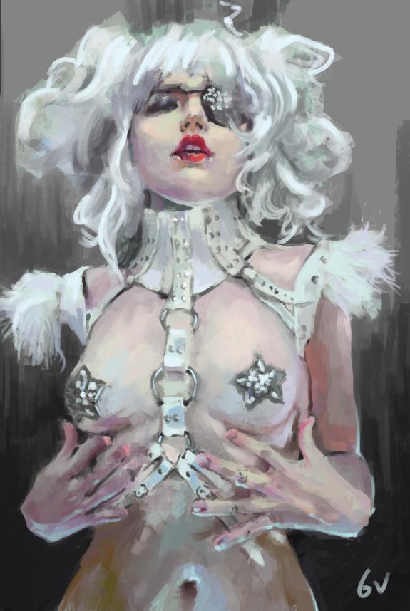 Фото Девушка обнаженная с наглазником на глазу и со звездами на груди