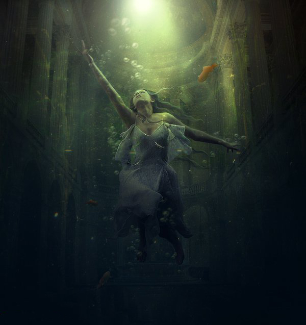 Фото Девушка под водой в старинном здании плывет к свету ...: http://photo.99px.ru/photos/270167/