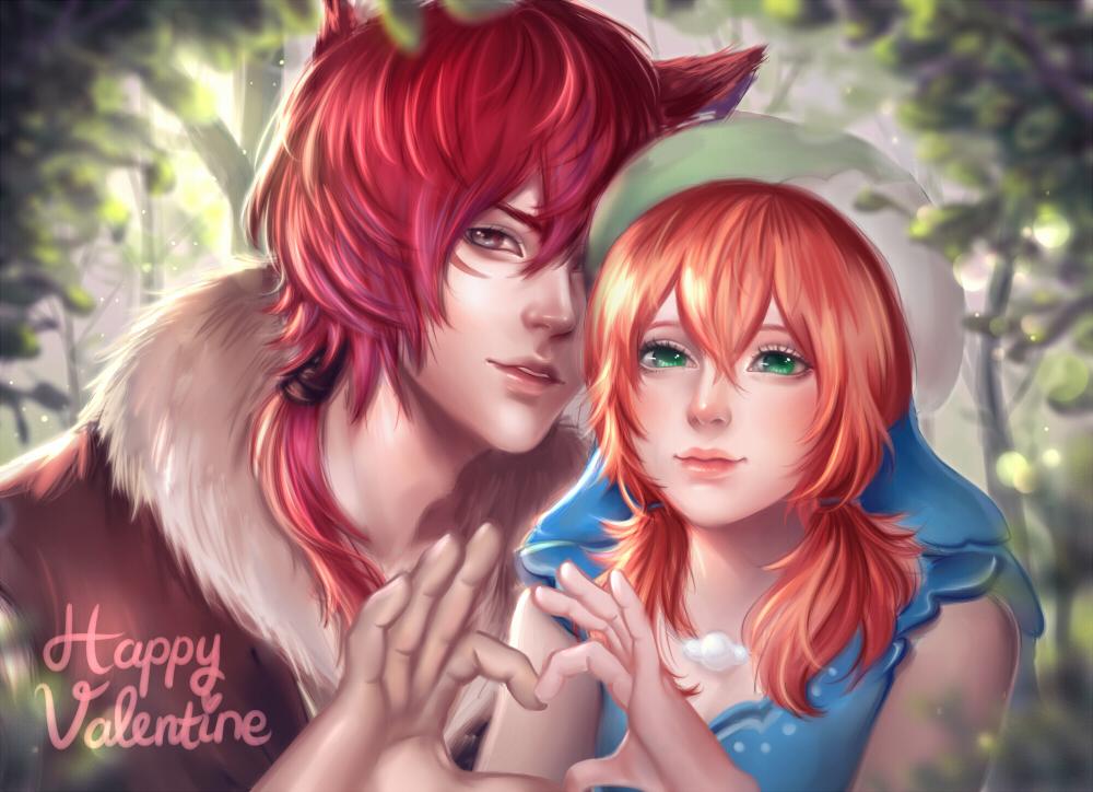 Фото Рыжеволосый парень с ушками и рыжеволосая девушка в шапке показывают сердце (happy valentine), by enmoire